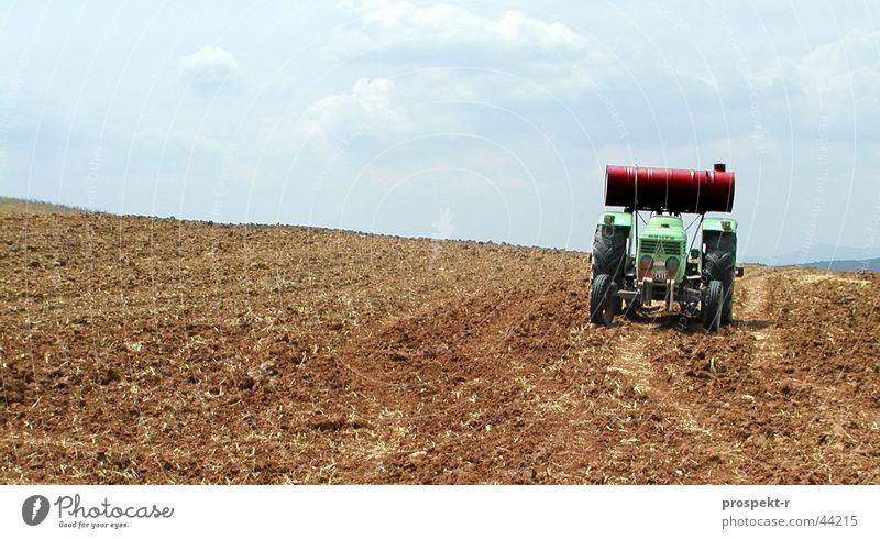 Bulldog Traktor Landwirtschaftliche Geräte Feld Wolken grün Feldarbeit Landarbeiter Agrartechniker Verkehr Köln-Deutz Sonne blau keine Sonne