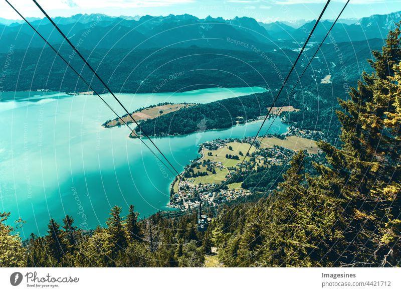 Bayern und Luftseilbahn - Herzogbahn mit Walchensee. Oberbayern Alpen Bayern Deutschland Europa Abenteuer Schönheit in der Natur Seilbahn Stadt Wolken - Himmel