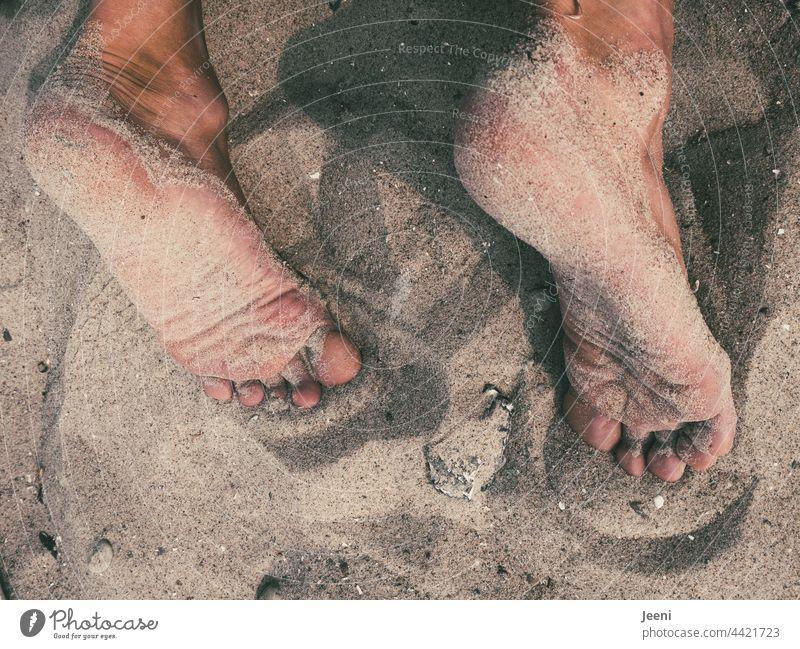 Lieber die Füße - nicht den Kopf - in den Sand stecken Fuß Beine Zehen Barfuß Sommer Erholung Mensch Mann männlich Haut nackt Meer Strand Strandsand sandig