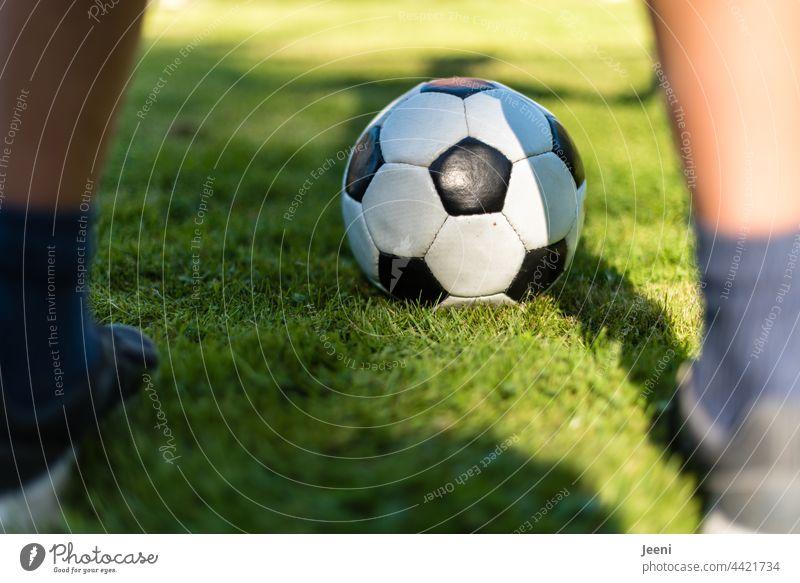 Torwart auf dem Fußballplatz Fußballtor Fußballfeld Beine Füße Schuhe Spielen spielerisch Sport Ballsport grün Freizeit & Hobby Sportstätten Sport-Training