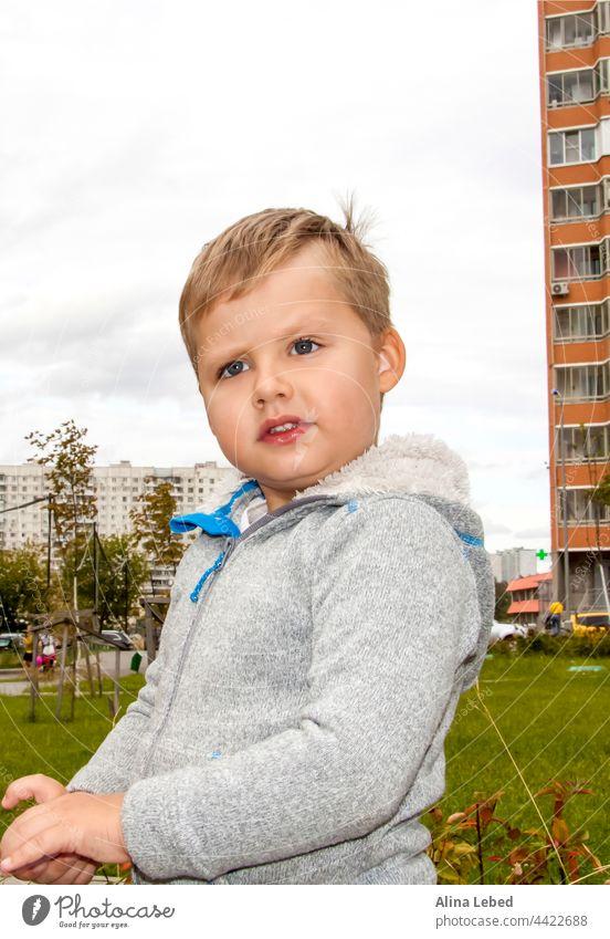Der überraschte Blick des Jungen. Porträt eines Kindes bezaubernd erstaunt Erstaunen Baby schön Kaukasier heiter Kindheit Nahaufnahme cool niedlich dunkelhaarig