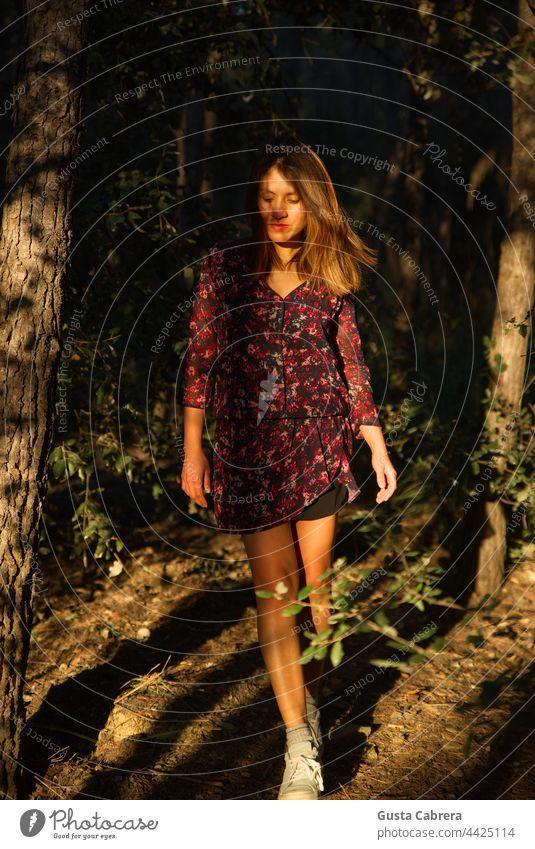 Frau im Kleid, geht zwischen Bäumen bei Sonnenuntergang spazieren. Spaziergang natürlich Wald Farbfoto Außenaufnahme Waldspaziergang Natur Baum Erholung