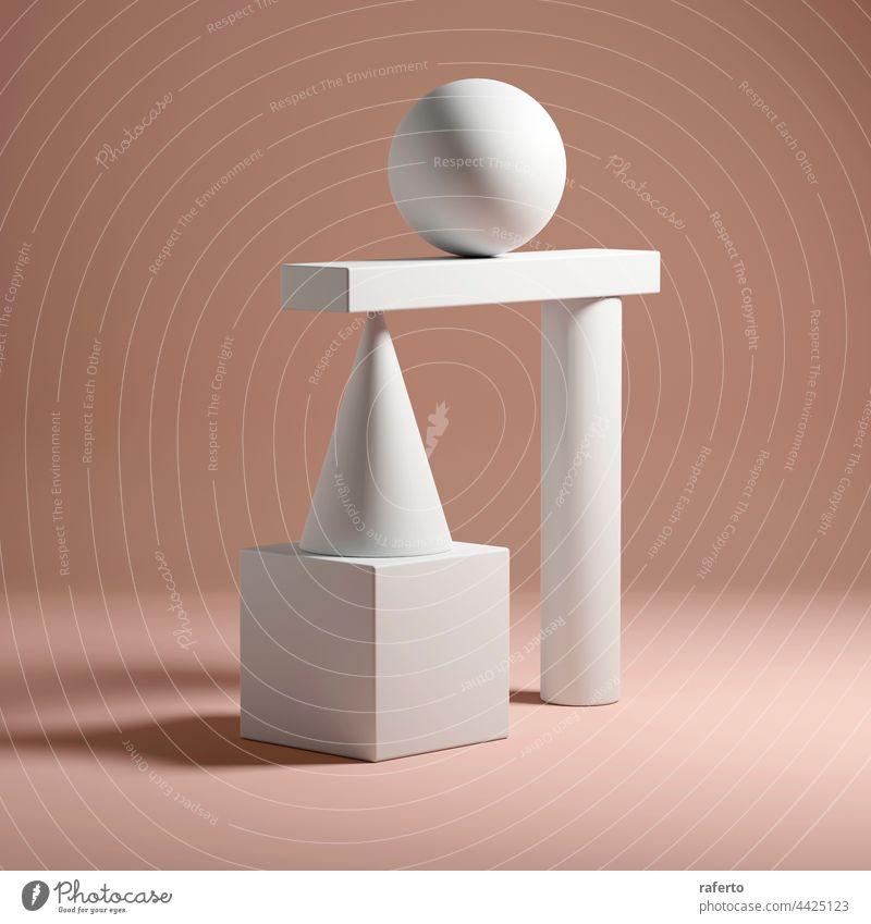 Abstraktes Gleichgewicht Stillleben Installation 3d render Form Konzept Geometrie Kugel geometrisch abstrakt Design Hintergrund Ball Würfel