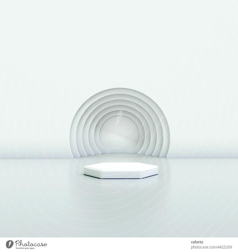 3d Illustration Studio mit geometrischen Formen, Podium auf dem Boden. Plattformen für die Produktpräsentation, Mock up Hintergrund. Schauplatz Szene Raum
