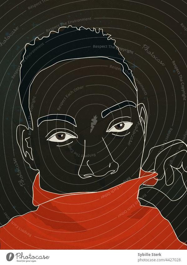 Afrikanischer Mann flirtet flirten androgyn kokett Romantik lgbt roter Pullover seelenvolle Augen Strichzeichnung Grafik u. Illustration sehr wenige Porträt