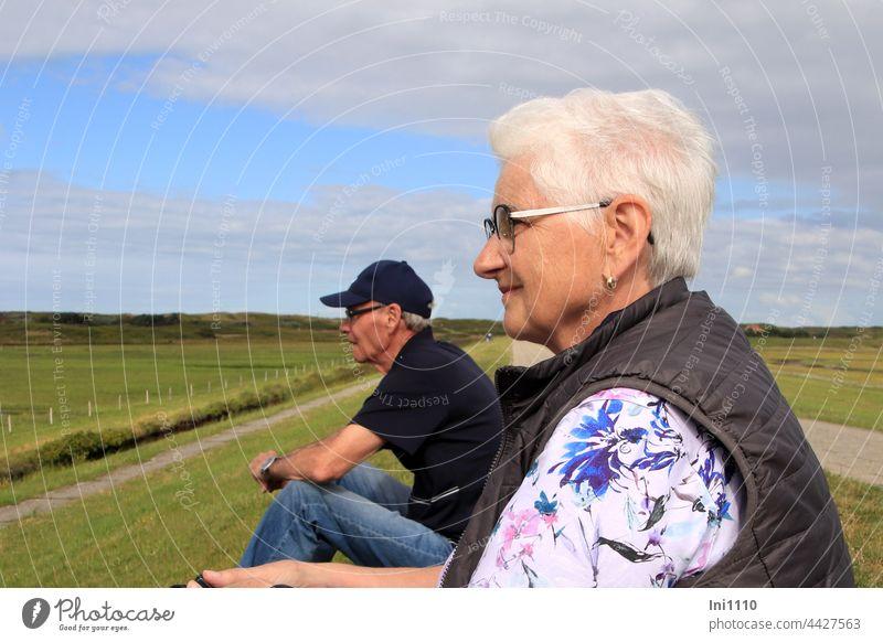 Seniorenpaar sitzt auf dem Deich und beobachtet die Vögel Urlaub Erholung Nordsee blauer Himmel mit Wolken Wangerooge Insel Natur Paar Landschaft