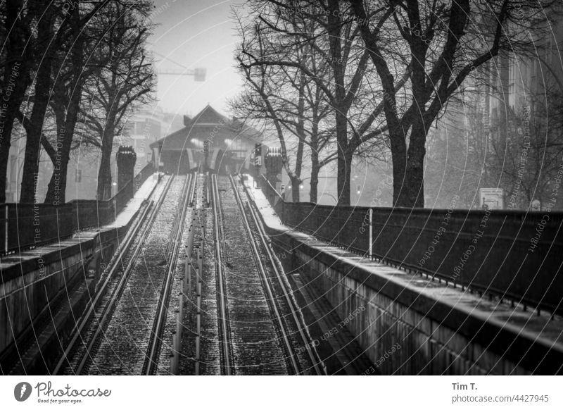 Hochbahn Schönhauser Allee im Schneetreiben Prenzlauer Berg schneetreiben s/w Berlin Stadtzentrum Hauptstadt Außenaufnahme Altstadt Menschenleer Bauwerk Tag