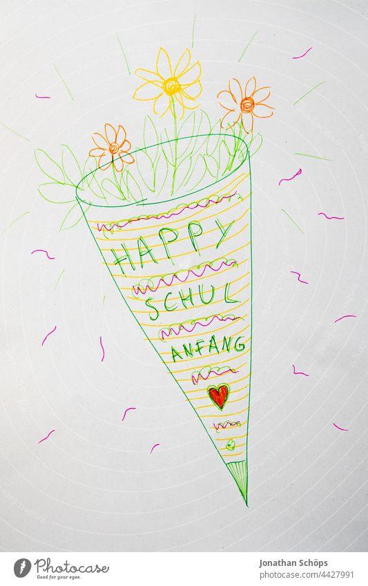 gemaltes Bild mit Schultüte und Blumen zum fröhlichen Schulanfang Feste & Feiern Wort Schule Text textfreiraum neustart erster Tag beginn analog Papier Schrift