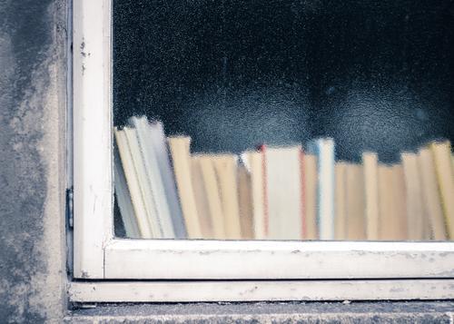 alt Erholung Haus Fenster Wand Traurigkeit Mauer Schule Freizeit & Hobby Häusliches Leben Glas trist Buch lernen Studium einfach