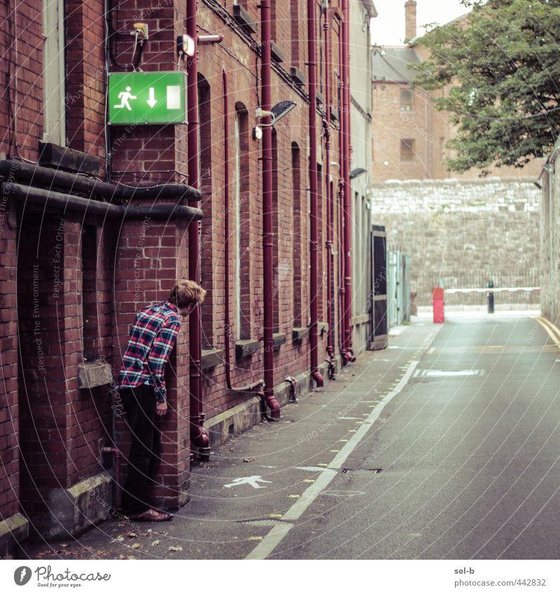 Exit-Strategie Häusliches Leben Arbeitsplatz maskulin Junger Mann Jugendliche 1 Mensch 18-30 Jahre Erwachsene Baum Dublin Stadt Gebäude Straße Wege & Pfade Hemd