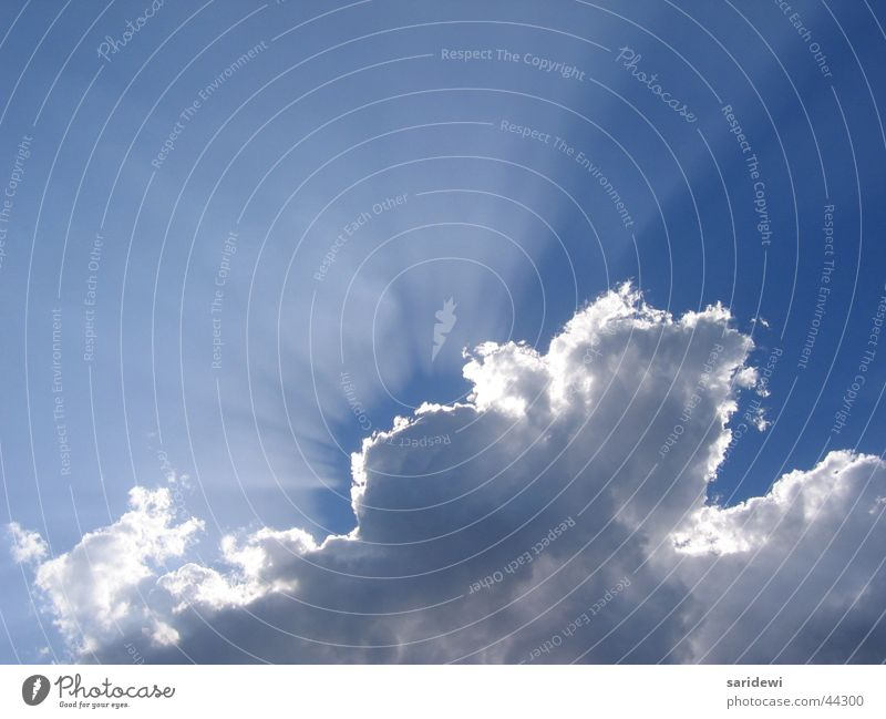Versteckspiel Wolken Sonnenstrahlen Luft atmen schimmern weiß Himmel Beleuchtung Freiheit blau