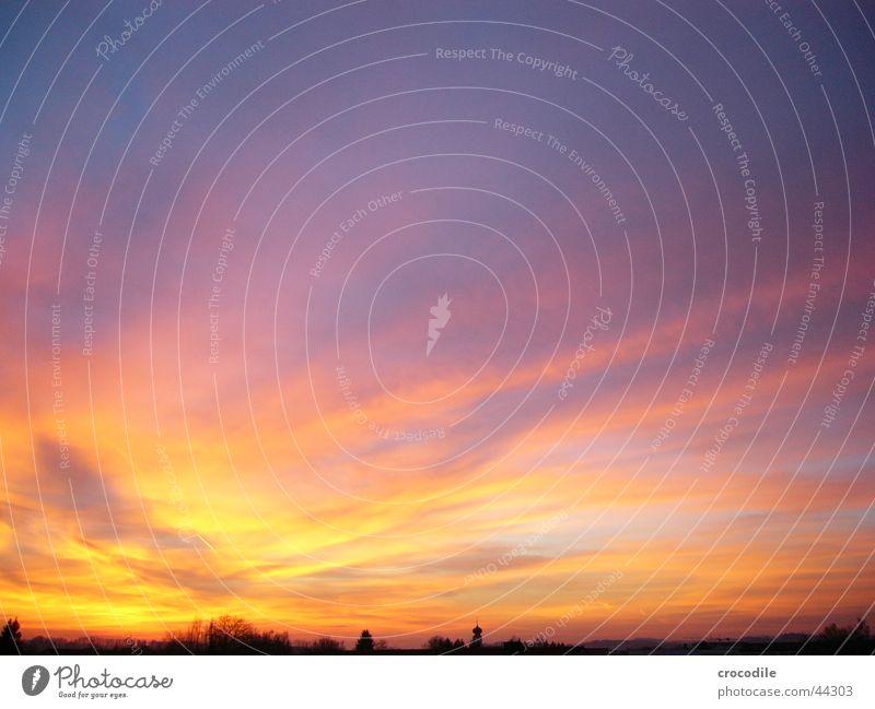 Pocking Sky rot Baum Stadt gelb violett Panorama (Aussicht) hell Sonne Himmel blau orange groß Sonnenuntergang