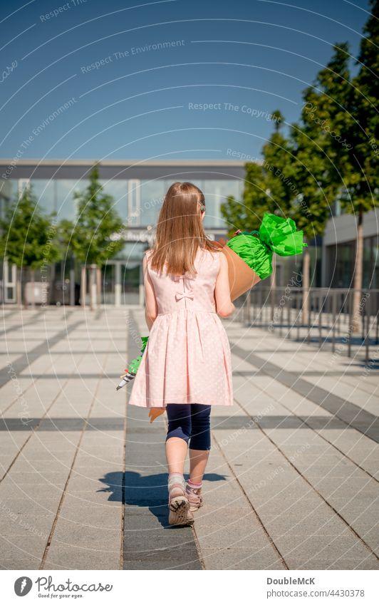 Ein Mädchen geht mit einer Schultüte in die Schule zur Einschulung Zuckertüte Kind Farbfoto Kindheit Bildung lernen Schulkind Schüler schülerin Mensch