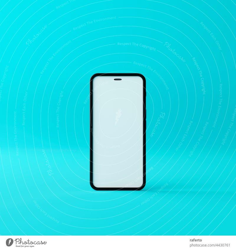 Smartphone-Mockup mit leerem weißen Bildschirm auf grünem Hintergrund. 3D Render Attrappe Telefon Mobile 3d Anzeige Gerät Handy-Mockup realistisch