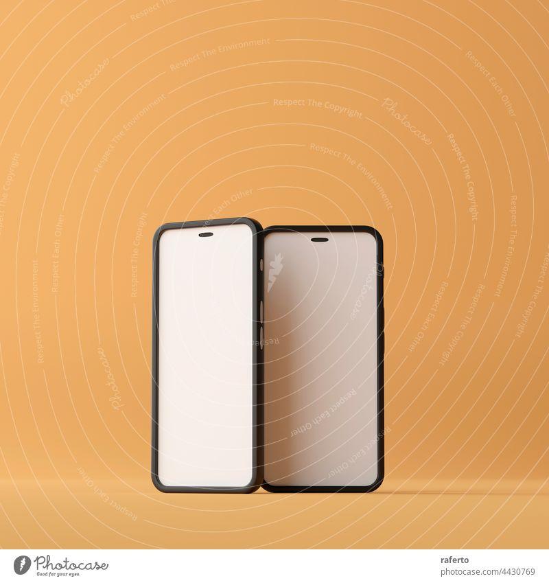 Zwei Smartphones mit leerem Bildschirm auf braunem Hintergrund. 3d Rendering Anzeige elektronisch Attrappe zwei App Gerät Mobile Telefon blanko vereinzelt