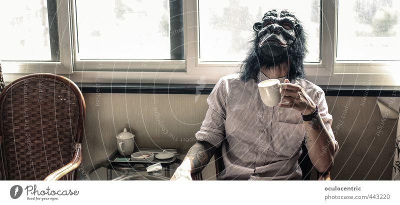gebannter Brand Wohlgefühl Zufriedenheit Erholung ruhig Stuhl Raum Mensch maskulin Mann Erwachsene Körper Kopf Arme 1 18-30 Jahre Jugendliche Hemd Maske alt