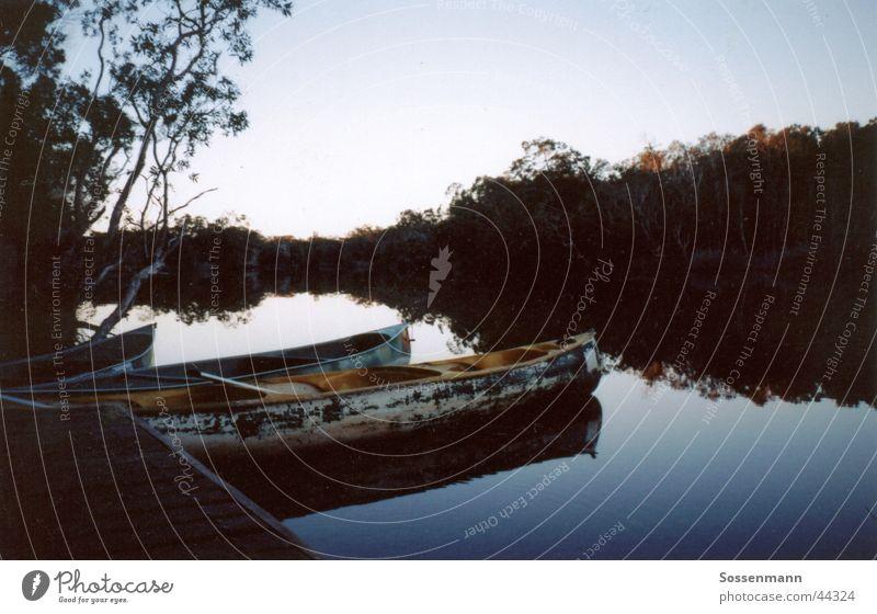 Abendstimmung Natur Wasser Ferien & Urlaub & Reisen ruhig Einsamkeit Erholung See wandern Fluss Steg Camping Anlegestelle Bach Australien Kanu