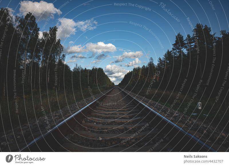Eine gerade Bahnstrecke im Grün des Waldes. Schöne Landschaft mit blauem Himmel und weißen Schäfchenwolken. Gutes Licht, unterbelichtet. Nummer drei auf der Eisenbahnstrecke