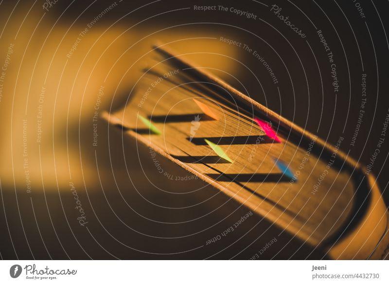 Altes Buch im Abendlicht Sticky Notes sticky post it alt Licht Lichtspiel Lichteinfall Papier Farbfoto Business Sonnenlicht Kreativität Charakter Riss Blatt