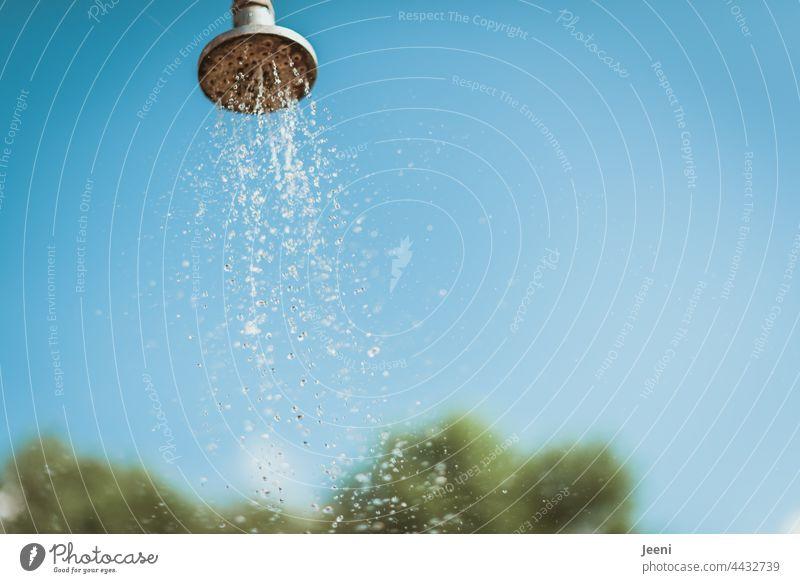 Kleine Abkühlung Sommerdusche Regendusche Dusche Außendusche Gartendusche Wasser Wassertropfen nass Wasserstrahl Körperpflege Waschen Sauberkeit Duschkopf