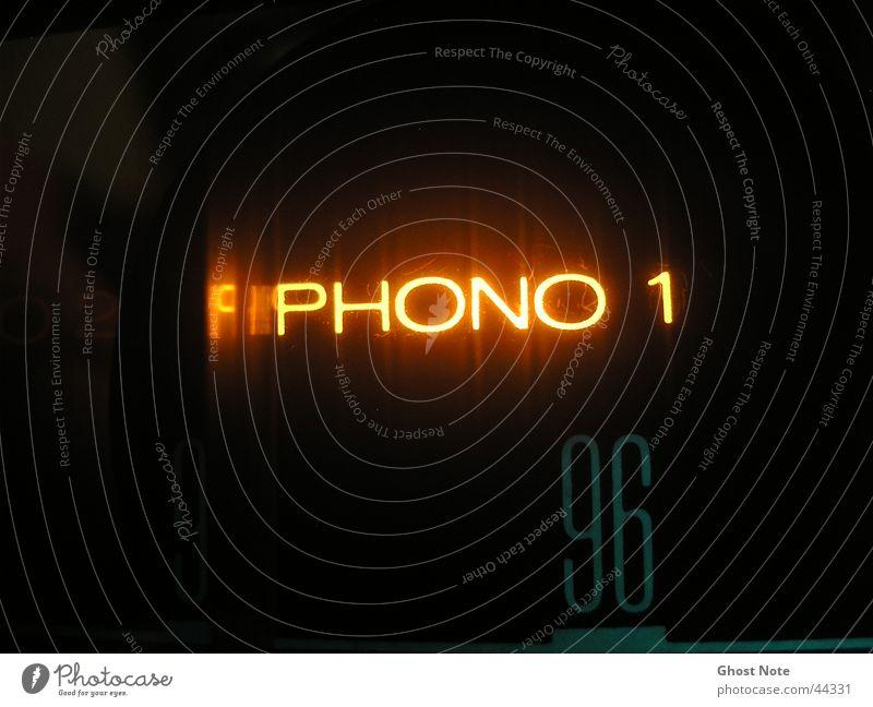 PHONO Makroaufnahme schwarz gelb Stil Musik Schriftzeichen Aktien Verstärker