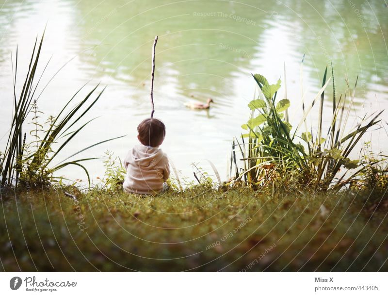 Angler Freizeit & Hobby Spielen Angeln Kinderspiel Mensch Kleinkind Junge 1 1-3 Jahre 3-8 Jahre Kindheit Sommer Wiese Teich See Fluss sitzen warten niedlich