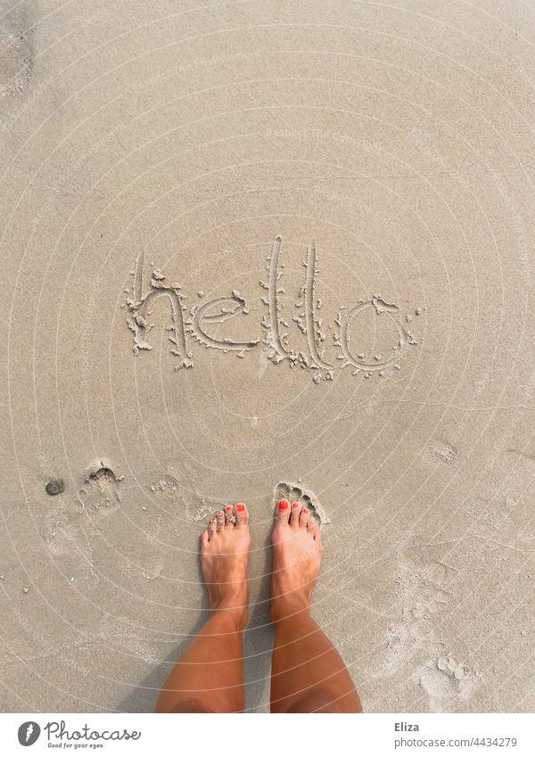 hello in den Sand am Strand geschrieben hallo Begrüßung Urlaub Füße Ferien Sandstrand Außenaufnahme Barfuß Sommer Frau Sommerurlaub Wort