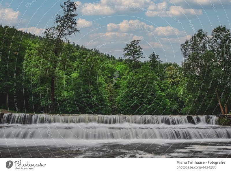 Chrysopras - Wehr Bad Blankenburg / Thüringen Chrysopras-Wehr Schwarza Schwarzatal Fluss Wasserfall Natur Landschaft Bäume Wald Himmel Wolken Sonne Tourismus
