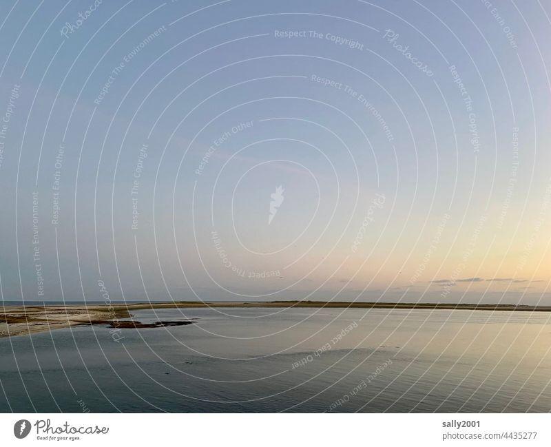 Abendstimmung an der Nordsee Meer Gezeiten Wattenmeer Dämmerung Sonnenuntergang Abendrot Strand Küste Ferien & Urlaub & Reisen Horizont Sommer Ferne Erholung