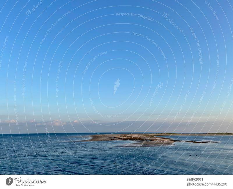 tief durchatmen Meer Nordsee Gezeiten Weite Erholung Wattenmeer Ruhe Amrum Landschaft Wasser blau Himmel Horizont Ferien & Urlaub & Reisen Sand Ferne Strand