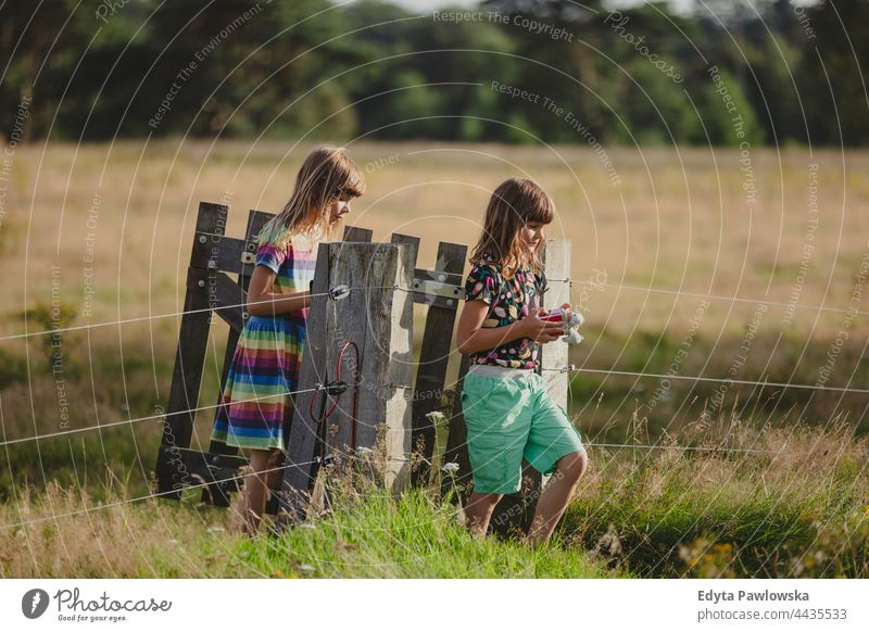 Kinder gehen durch ein Holztor auf einem Feld Zaun Gate hölzern aktiv Aktivität Abenteuer Herbst Kindheit Landschaft genießend Familie Bauernhof Frau Wald