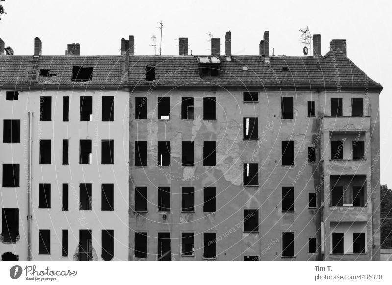 ein Altbauhaus, in dem alle Fenster entfernt wurden, steht Blind da Treptow köpenick s/w Schwarzweißfoto Architektur Tag Gebäude Außenaufnahme Menschenleer