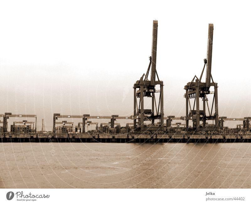 Hamburger Hafen Wasser Wasserfahrzeug planen Industrie Fluss Kran Elbe
