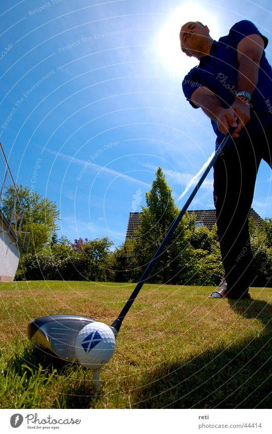 Schottischer Callaway Golfball Abschlag Golfer Sport Schotten Driver Stroke Im Gegenlicht Big Stroke Tee Aufgeteet Kassenerfolg Big Drive