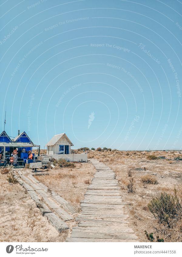 Ein Holzpfad auf einer einsamen Insel mit einer kleinen Fischerhütte Natur Landschaft wandern Holzweg Wüsteninsel