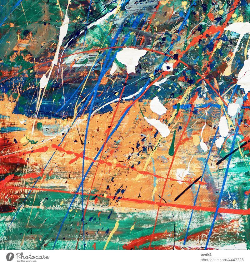 Omni Kunstwerk Gemälde verrückt wild bizarr Kraft chaotisch orange blau rebellisch weiß Energie Farbfoto durcheinander mehrfarbig abstrakt Außenaufnahme