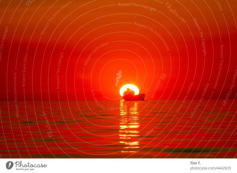 ein Handelsschiff fährt direkt in den Sonnenuntergang seefahrt Ostsee Baltic Sea ship sunset Sonnenlicht Meer Horizont Wasser sea Wellen waves Himmel Natur