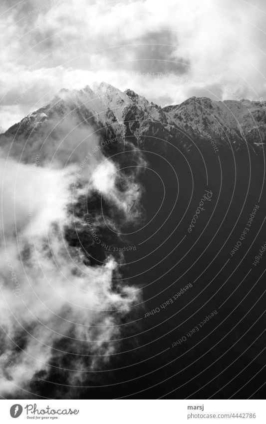 Nebelschwaden erobern die Bergwelt Nebelschleier Nebelstimmung Dpster Natur Berge u. Gebirge Krügerzinken Alpen düster Gipfelkreuz verschneite Gipfel