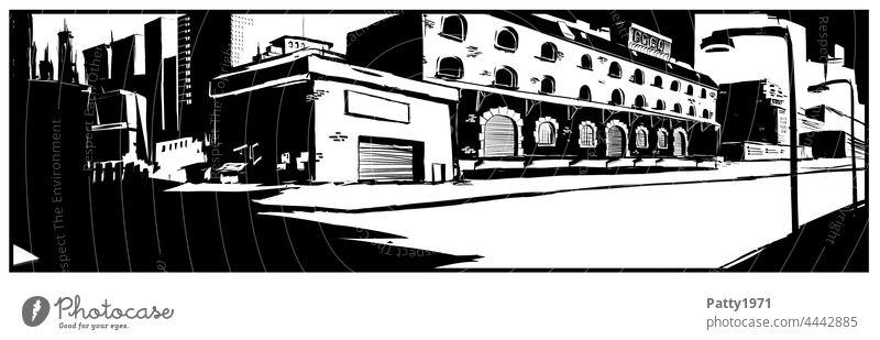Abstrakte schwarzweiss Illustration einer urbanen, verlassenen Stadtlandschaft Grafik u. Illustration Straße Architektur abstrakt Lagerhaus minimalistisch