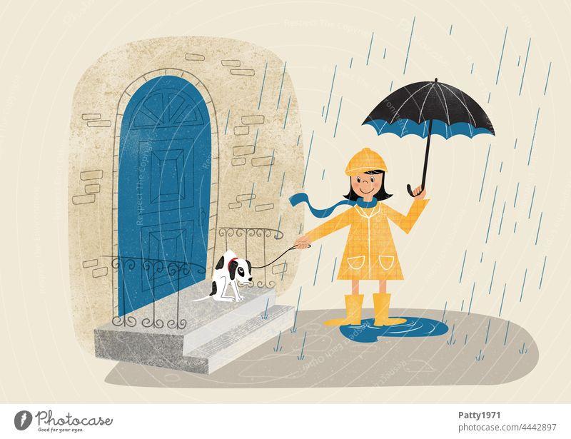 Retro Stil Illustration eines Mädchens mit Regenschirm, das versucht mit ihrem widerwilligen Hündchen im Regen Gassi zu gehen Hund Gassi gehen schlechtes Wetter