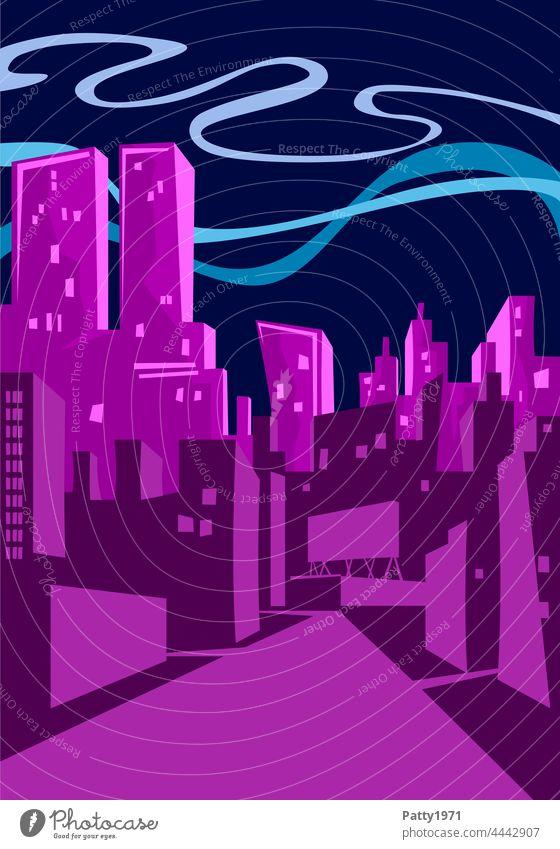 Flat Design Illustration - Skyline einer Großstadt bei Nacht Hochhaus Straße abstrakt Gebäude Architektur Turm urban schief Zeichnung