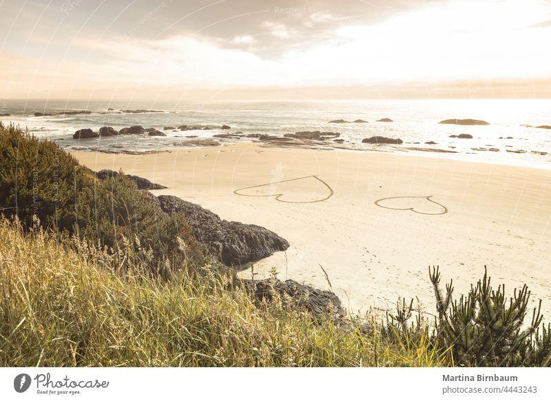 Zwei Herzen im Sand an der Pazifikküste, Oregon Meeresufer Symbol zwei reisen Strand Valentinsgruß Ufer Insel Tag Urlaub romantisch Sommer MEER Liebe