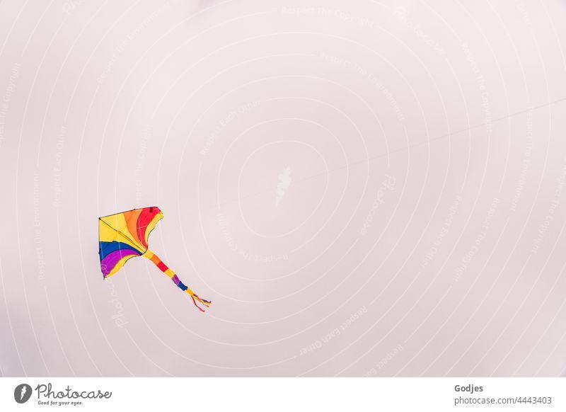 Bunter Drachen am wolkenbehangenen Himmel Drachenfliegen Drachen steigen lassen Wolken Freude Spielen Freizeit & Hobby Wind blau Kindheit Lenkdrachen Luft