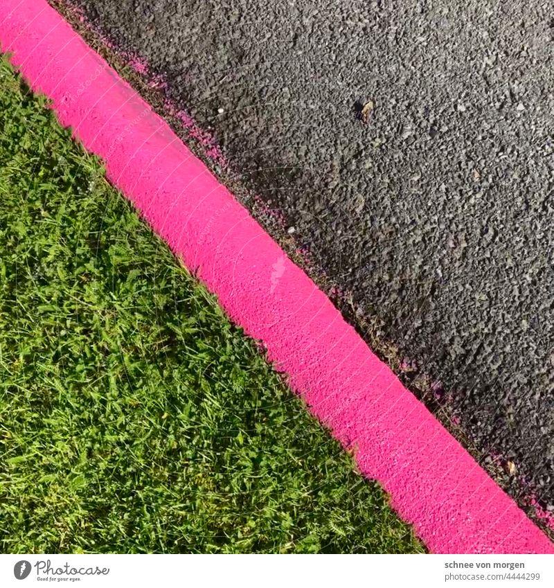 Line up Straße Pink Rasen Weg Vorsicht Kante markierung richtung zeichen links linie fahrbahnmarkierung ecke