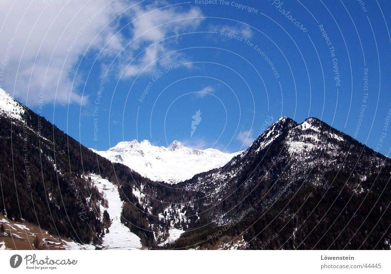 in den alpen Wolken weiß Ferien & Urlaub & Reisen Berge u. Gebirge Alpen Himmel blau Felsen hoch bergland Natur Schnee