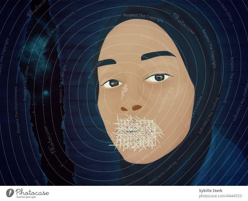 Zukunft gestrichen Riss Raum Raumfahrt muslimisch muslimische Frau schallgedämpft misogyn Sexismus Islam Kopftuch Hijab Bestrafung Einschränkung