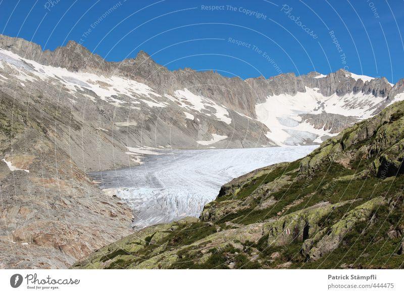 Rhonegletscher (VS) Himmel Natur Sommer Landschaft Berge u. Gebirge Felsen Klima Tourismus Schönes Wetter Abenteuer Alpen Wolkenloser Himmel Klimawandel