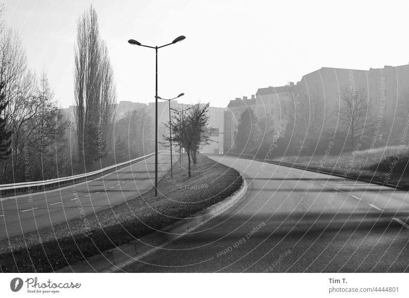 eine leere Straße in Frankfurt/Oder im Herbst Frankfurt Oder s/w Schwarzweißfoto Architektur b/w Außenaufnahme Tag Menschenleer b&w Einsamkeit ruhig Gebäude