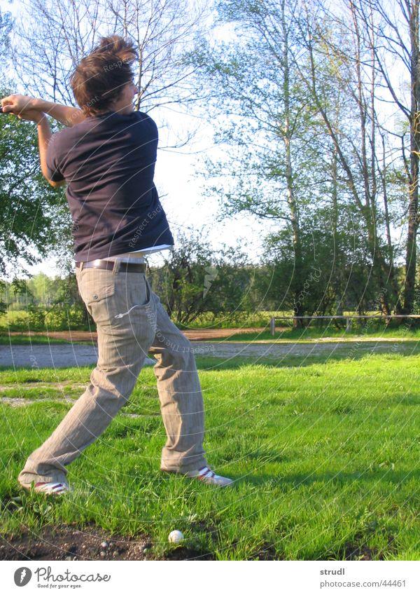 Daneben. Natur schön Sommer Sport Wiese Gras Ball Golf