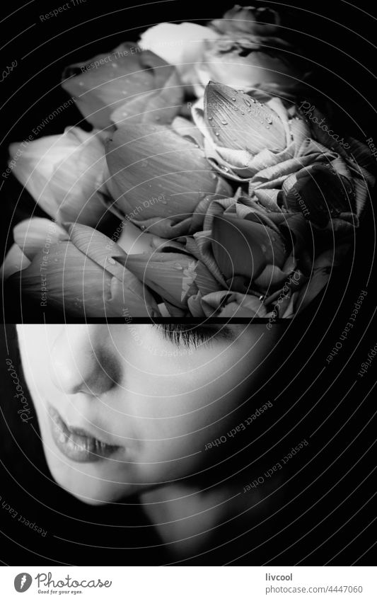 Melancholischer Teenager und Rosen II Mädchen Model jung melancholisch Blumen Roséwein schwarz auf weiß zu Hause hübsch Schönheit echte Menschen